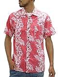[ルーシャット] アロハシャツ コットン 裏使い 総柄プリントシャツ レッド M