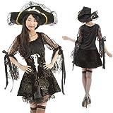 海賊 パイレーツ ワンピース 3点セット (衣装 帽子 仮面) コスチューム レディース フリーサイズ