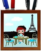 Rikki Knight 5-Inch Pretty Girl in the Parisian Cafe Design Wooden Tile Pen Holder (RK-PH2002) [並行輸入品]