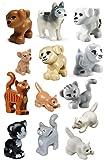 LEGO 13?pcs新しい友達犬と猫ロット子猫犬子犬動物ペットショップミニフィギュアMinifig Figure Cute Boy Girl
