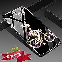 Yhuisen ローズフラワーハイヒールハートペインティング9H強化ガラスバックカバー[スクラッチ耐性]&ソフトTPUシリコンインナープロテクティブケースカバーiPhone 7 Plus/iPhone 8 Plus用 (PATTERN : 4)