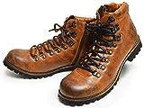 ZEENO(ジーノ) マウンテンブーツ トレッキング ブーツ シューズ サイドジップ メンズ 靴 替え紐付き 25.5cm L/Brown ライト ブラウン