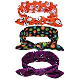 Lurrose 3Pcs Halloween Baby Headband Cloth Skull Ghost Hair Band Turban Bow Headbands for Halloween Baby Hair Accessory