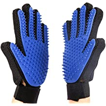 Pet Grooming Glove - Gentle Deshedding Brush Glove Addprime 2 in 1 Efficient Pet Hair Remover Mitt - Massage Tool with Enhanced Five Finger Design for Dogs & Cats & Sheep with Long & Short Fur 1 Pair