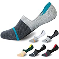 Flammi 6 Pairs Men's No Show Casual Cotton Socks Non-Slip Low Cut Boat Socks for Loafers Boat Shoes