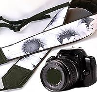 グレーひまわりカメラストラップ。ウェディングカメラストラップ。ブラックandホワイトFloralカメラストラップ。ブラックDSLR / SLRカメラストラップ。耐久性、ライト、Wellパッド入りカメラstrap.コード00148