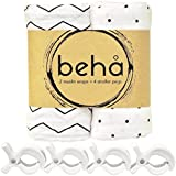 100% Organic Muslin Wrap Set - 2 x Swaddle Wrap + 4 x Stroller Pram Pegs - Beha Baby - 120x120cm, Cotton, Pre-Washed, Unisex, Large, Soft, Light & Breathable