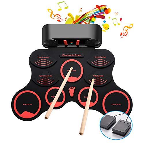 【2019進化版】 電子ドラム ポータブルドラム 10個ドラムパッド 9デモ曲 10リズム 3ドラム音色 ピーカー内蔵 USB充電式 外部音源入力可能 練習/初心者/入門/子供/おもちゃ フットペダル ドラムスティック 日本語説明書付き Fverey