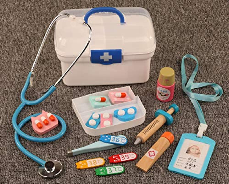 Zhenyu お医者さんごっこおもちゃ 13点セット 子供用 医療キット 赤ちゃん用 教育ボックス ライトロール ごっこ遊び クラシックギフト One size ブルー Zhen-1