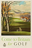Come to Britain forゴルフヴィンテージポスター(アーティスト: Hilder ) England 24 x 36 Signed Art Print LANT-64270-710