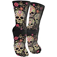 Day Of The Dead Sugar Skull Compression Socks Unisex Printed Socks Crazy Patterned Fun Long Cotton Socks Over The Calf Tube