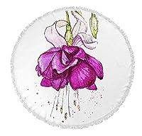 KAVKA DESIGNS Draping Flower Round Beach Towel, (Pink/Green/Purple), Size: 60x60x.5 - (TELAVC028FSBTR60) [並行輸入品]