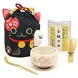 黒猫 招き猫 巾着 一服5点セット ほんぢ園 茶道具 日本のお土産
