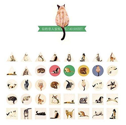 [koneko] かわいい猫40枚かわいいステッカー猫 シール38*38mm (かわいい)【並行輸入品】