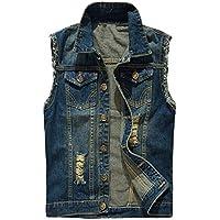 MAGE MALE Men's Retro Ripped Denim Vest Sleeveless Jacket Waist Coat