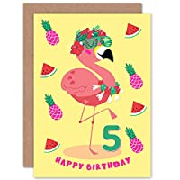 Kawaii Flamingo Party 5th Birthday Greeting Card With Envelope Blank Inside Premium Quality