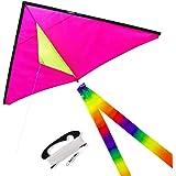 emma kites 1.5M 三角凧 ピンク 100M凧糸とハンドル付き 収納バッグセット 三歳以上の子供用 超簡単に揚がる凧