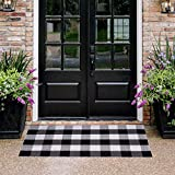 """Buffalo Plaid Rug - HZ-AU Checkered Indoor/Outdoor Door Mat Outdoor Doormat for Front Porch/Kitchen/Laundry Room Welcome Layered Mat (23.6""""X51.2"""", Black and White Plaid)"""