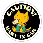 BABY IN CAR蓄光ステッカー(黒) CAUTION!