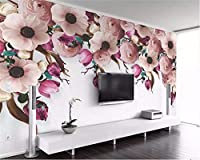 Weaeo カスタム壁紙アメリカの手描きのバラの花のブドウモダンなテレビの壁の壁の家の壁画の3D壁紙-200X140Cm