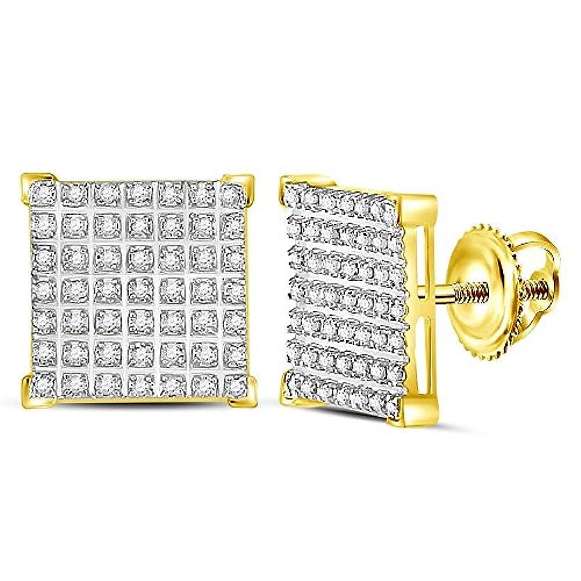 楽観生物学否認する10 KTイエローゴールドメンズラウンドダイヤモンド正方形クラスタイヤリング1 / 3 cttw
