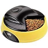 ペット用自動給餌器 犬 猫 餌やり機 オートペットフィーダーオートマチックペットフィーダー 日本語説明書付きイエロー FS-PT05