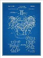 """1954年クライスラー426Hemi v8エンジン特許印刷アートポスター額なし青写真18"""" x 24"""""""