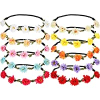 10 Pieces Artificial Flower Headbands Multicolor Hawaiian Flower Crown Floral Garland Headbands for Festival Wedding Party