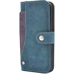 PLATA iPhone7 / iPhone8 ケース 手帳型 スライド カード ポケット ソフト レザー ケース カバー iPhone 7 / 8 【 ブルー 青 あお blue 】 IP7-6217BL
