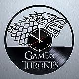 モダン 黒 ビニール レコード 壁掛け 時計 - ユニークな屋内と屋外の壁の飾りを得ます - 女の子と女の人のためのギフトのアイデア - 恐竜 ロゴ ユニークなアート デザイン