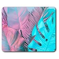 快適なマウスマット - ピンクブルー熱帯の葉23.5 X 19.6センチメートル(9.3 X 7.7インチ)コンピュータ&ノートパソコン、オフィス、ギフト、ノンスリップベース用 - RM14063
