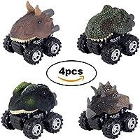 Tangon Pull Back恐竜車、動物恐竜おもちゃトラックwith Big Wheels for Kids Toddlers Funパックof 4