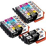エプソン IC6CL80 増量14本セット EPSON 互換 インク カートリッジ IC6CL80L + ICBK80L ×2 IC80 IC80L ICBK80 とうもろこし インク starink