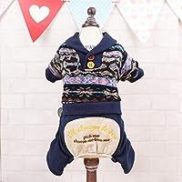 LilyAngel 犬 服 ドッグウエア 秋冬 防寒 つなぎ メンズ 小型 中型犬 暖かい お散歩 ファション スポーツ (Color : ダークブルー, サイズ : XL)