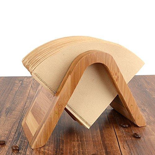 竹コーヒーフィルターホルダー 円錐型 コーヒー用紙スタンド 竹製品 収納 茶色 (A)