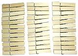 天然木 で インテリア に ピッタリ 木製 ウッド ピンチ クリップ フレンチ (ナチュラル×4.5cm×36個)