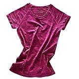 【ノーブランド 品】女性 ラウンドネック 半袖 メランジ Tシャツ ヨガ ジムトップ スポーツウェア 全4色2サイズ - M, ローズレッド