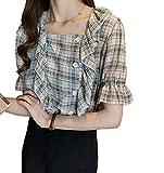 [ライラ] ドビー チェック 柄 フリル 半袖 シャツ きれいめ スクエア ネック ブラウス M ~ XL レディース