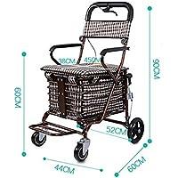 高齢者スクーター折りたたみショッピングカート座席は、小さなプルカート高齢者用トロリーを押すのを助けるために食料を買うために4ラウンドを取ることができます (色 : D-Brown)