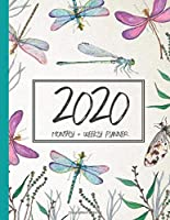 2020 Monthly + Weekly Planner: Watercolor Dragonfly Cover Art Calendar
