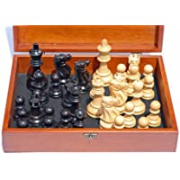 Jacques Chessmen - Black Stained Kari Wood with 3.75 in. King - In Wooden Treasure Box