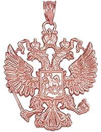 10 Kローズゴールドロシアの国章双頭の鷲Slavic Crestペンダント