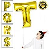 Takefuns 40インチ アルファベット 風船 飾り品 誕生日パーディー ヘリウム アルミ箔 マイラー 艶ゴールデン(T)