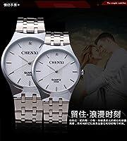 HWCOO 腕時計 新しいカジュアルなメンズ腕時計クォーツスチールベルト男性と女性の腕時計防水カップル055B (Color : 2)