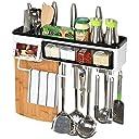 キッチン 収納 ラック 壁掛け 多機能 調味料入れ タオル掛け まな板 箸立て スマホスタンド キッチンツール 収納棚 (長さ50 幅12 高さ18cm)