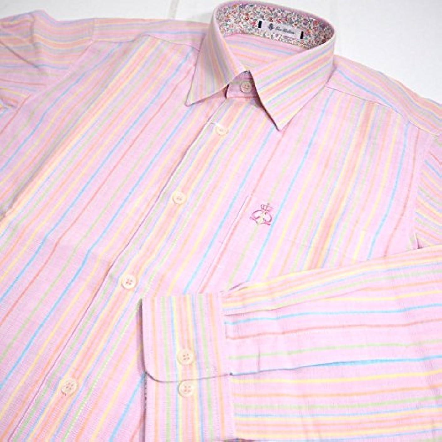 準備した寝てる法王30712 春夏 日本製 長袖シャツ 麻使用 ストライプ柄 ピンク(桃色) サイズ 48(L) G&G GEEGELLAN ジーゲラン 紳士服 メンズ 男性用