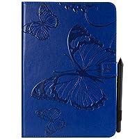 YHUISEN サムスンギャラクシータブA 9.7 SM-T550(2015リリース)のための蝶の花の花柄のPUレザーウォレットスタンドタブレットケース (色 : 青)