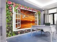 Bzbhart 3Dの 壁紙シルク壁画壁ステッカー夕日の絵画でカモメ の壁壁画の壁画壁紙-250cmx175cm