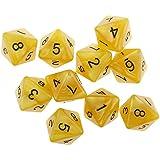 Sharplace 10個 8面 ダイス サイコロ テーブルゲーム 全8色 - 黄