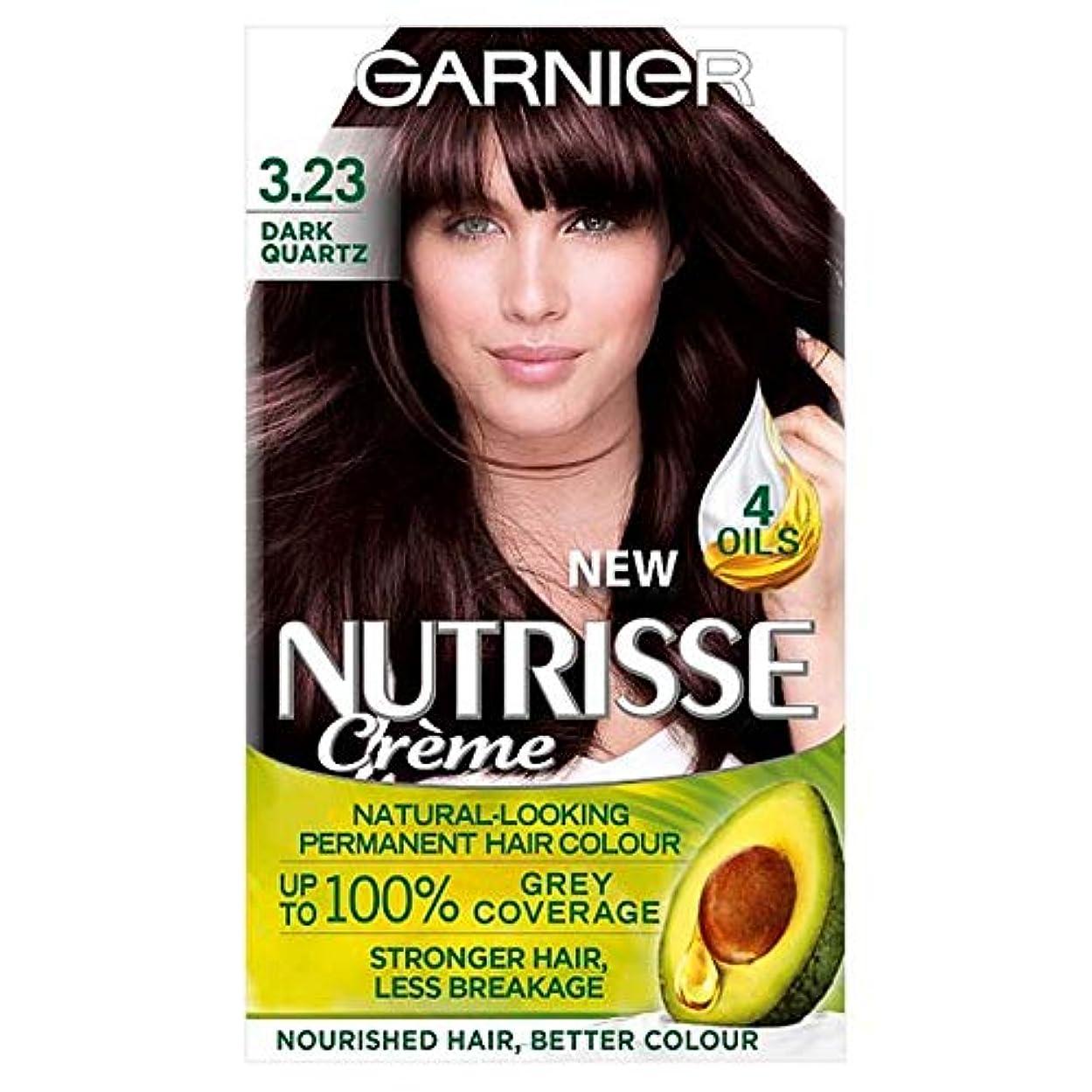 織機変換人差し指[Garnier ] ガルニエNutrisse 3.23ダークブラウンの石英パーマネントヘアダイ - Garnier Nutrisse 3.23 Dark Quartz Brown Permanent Hair Dye [並行輸入品]